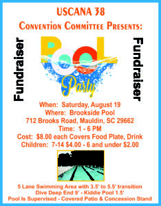 USCANA 38 Convention Committee Pool Party Fundraiser @ Brookside Pool