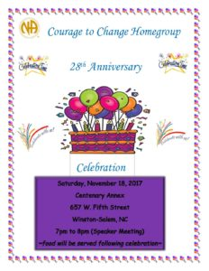 Courage to Change Homegroup 28th Anniversary @ Centenary Annex