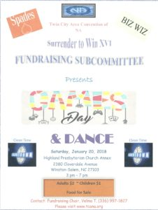 Twin City Area Convention of NA Surrender to Win XVI Fundraising Committee Presents Game Day and Dance @ Highland Presbyterian Church Annex