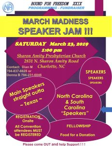 March Madness Speaker Jam @ Sharon Amity Presbyterian Church