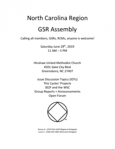 GSR Assembly-North Carolina Region @ Hinshaw United Methodist Church