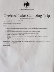 Orchard Lake Camping Trip - GAP Area N.A. @ Orchard Lake Campground