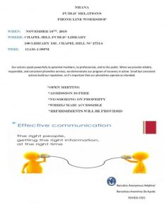 NHANA PR Phoneline Workshop @ Chapel Hill Public Library