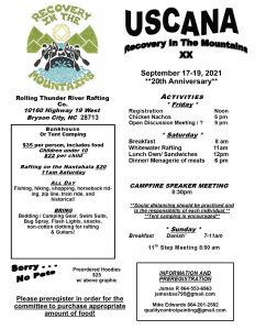 Recovery in the Mountains XX ( USCANA ) 20th Anniversary @ Rolling Thunder River Rafting